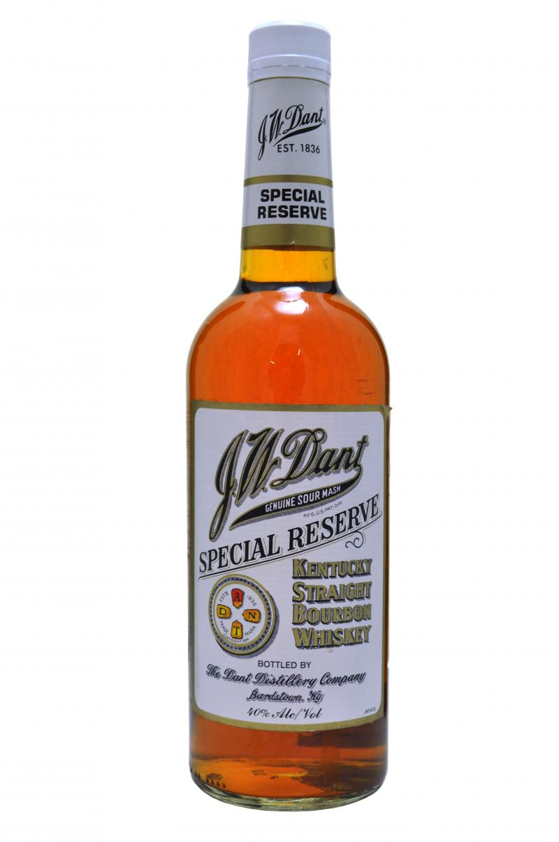 Bottle of JW Dant Special Reserve Bourbon. From DrinkHacker.com