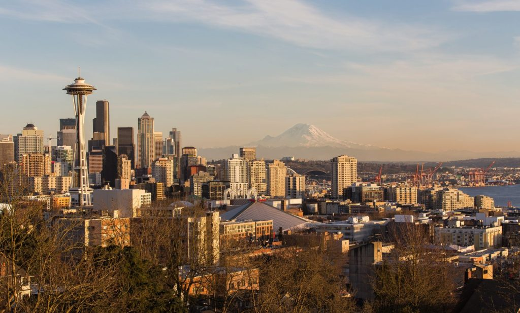Kerry Park at sunset. Seattle, WA. Photo by Jonathan Miske via Flickr CC