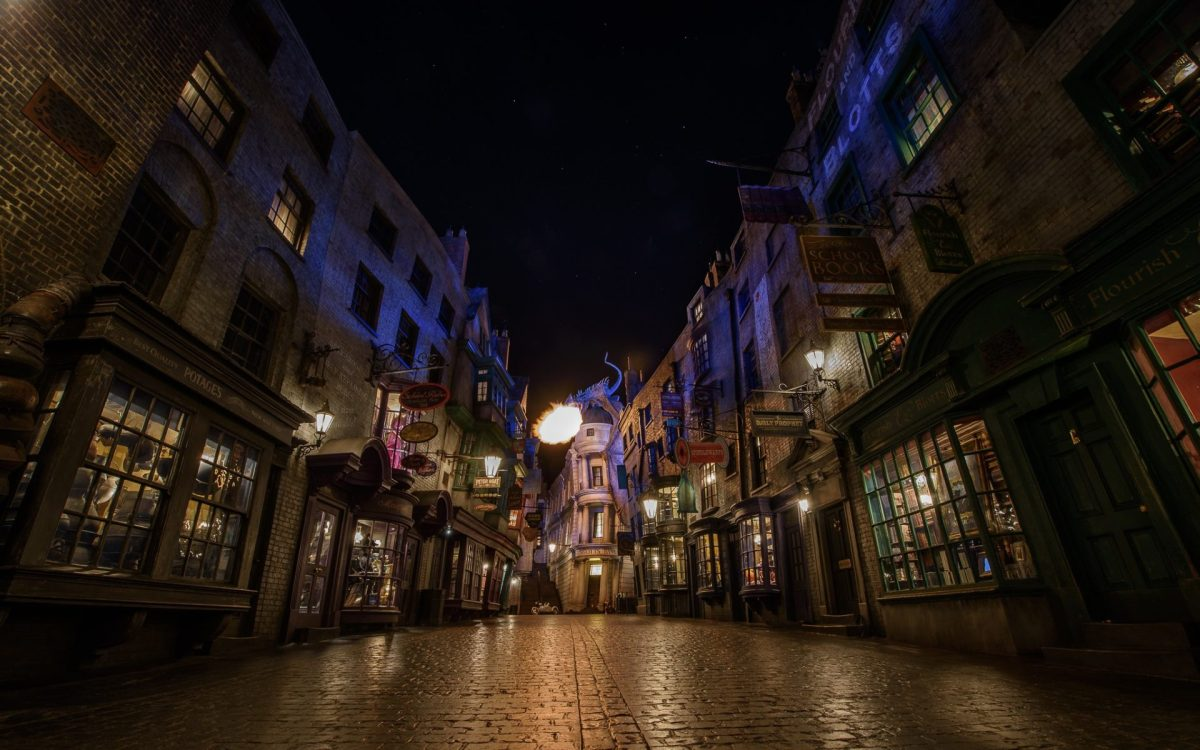 Fire Alley at the Harry Potter World. Photo by Brett Kiger via Flickr CC