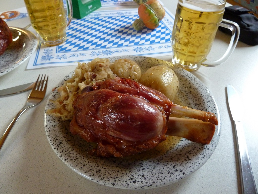 Pork knuckle with potatoes and sauerkraut