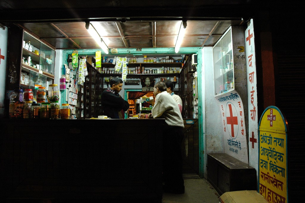 Pharmacy in a small town in India. Here you can get most pills, even antibiotics without a prescription.
