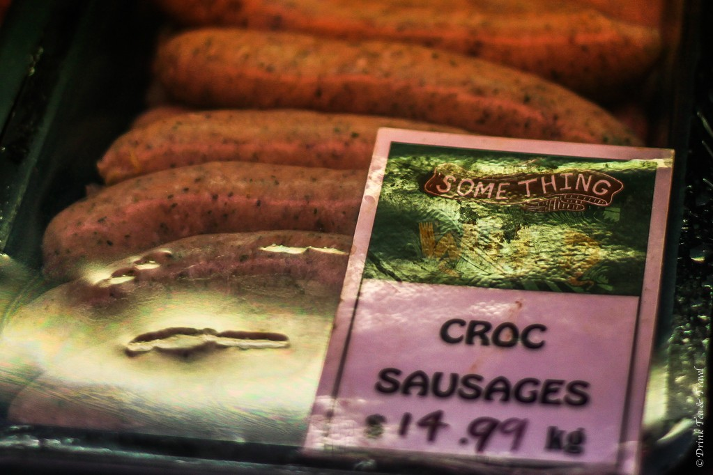 Croc sausages on sale at Something Wild stall