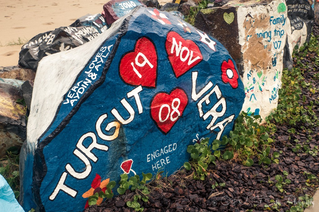 One of the many engagement rocks in Port Macquarie's breakwall gallery
