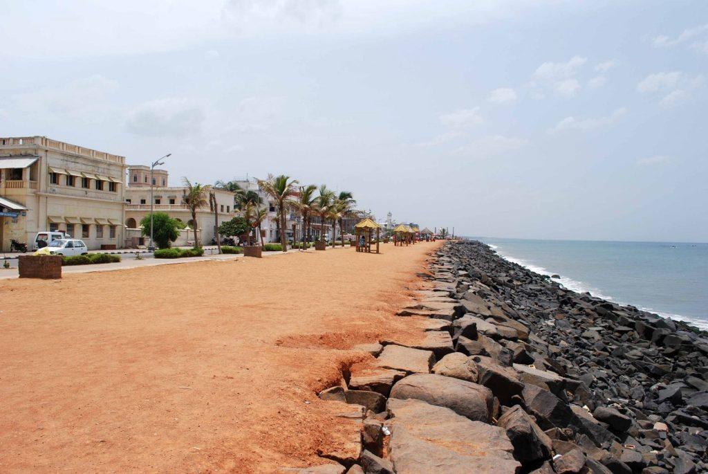 Beach promenade in Pondicherry, Southern India