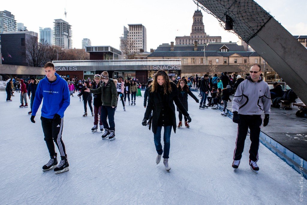 Family skate at Nathan Phillips Square in Toronto