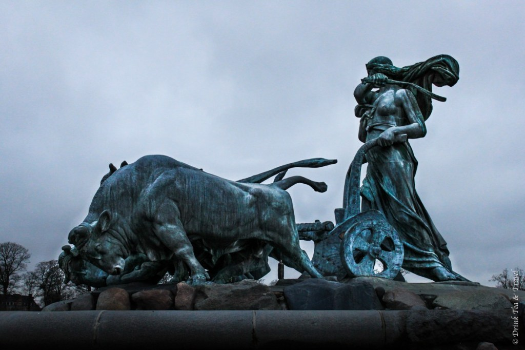 Statue at the top of Gefion Fountain, Copenhage