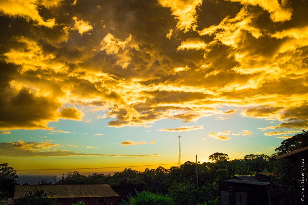 Sunset in Santa Elena, a small town near Monteverde Cloud Forest in Puntarenas, Costa Rica