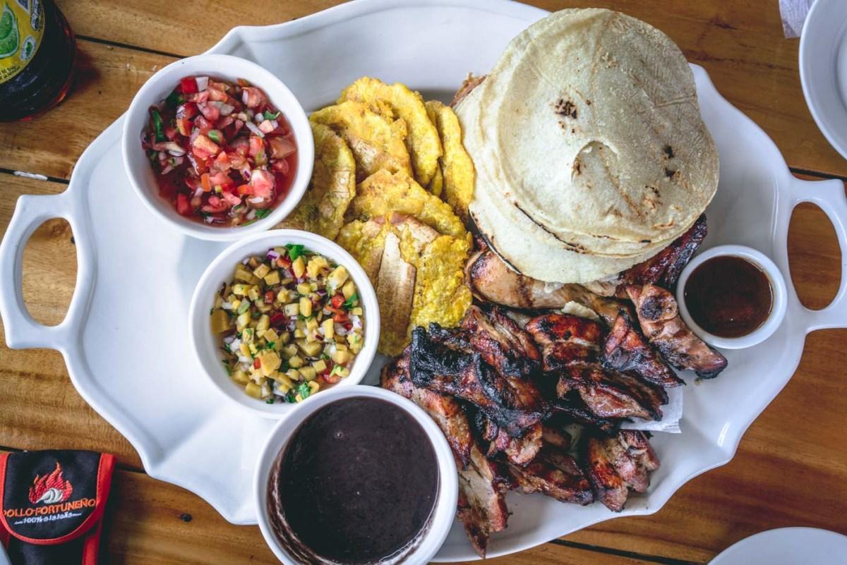 Meat platter at Pollo Fortuneno, La Fortuna