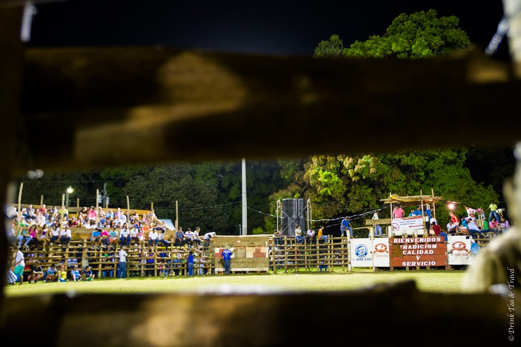 The view of the bull riding ring from behind the fence.