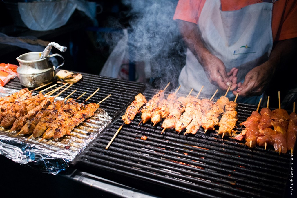 Costa Rican Food: Pollo and Carne Asada on the grill in Tamarindo, Costa Rica