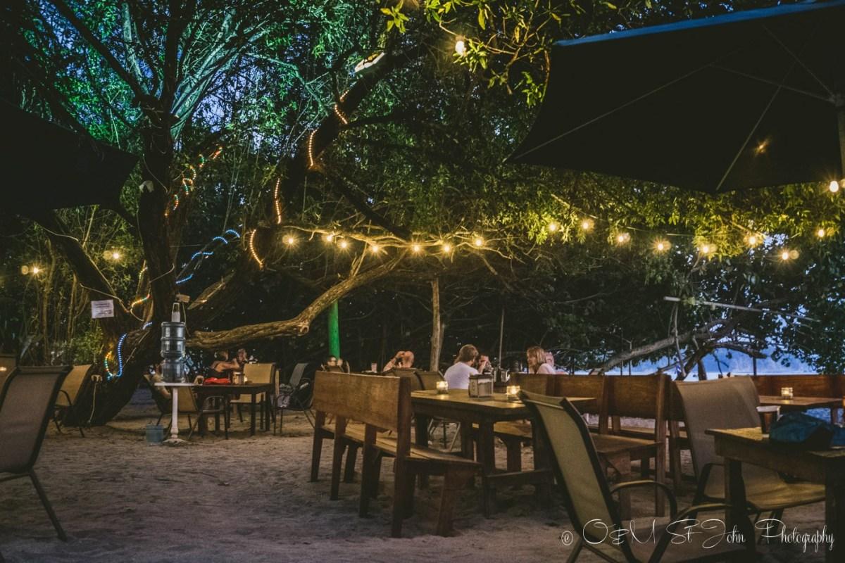 Tables on the beach restaurant Lo Que Hay. Samara. Costa Rica