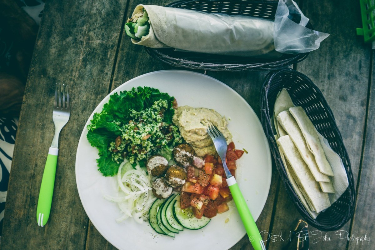 Yummy lunch at the Falafel Cafe. Samara. Costa Rica