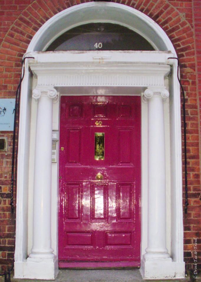 Pink Georgian style door in Dublin