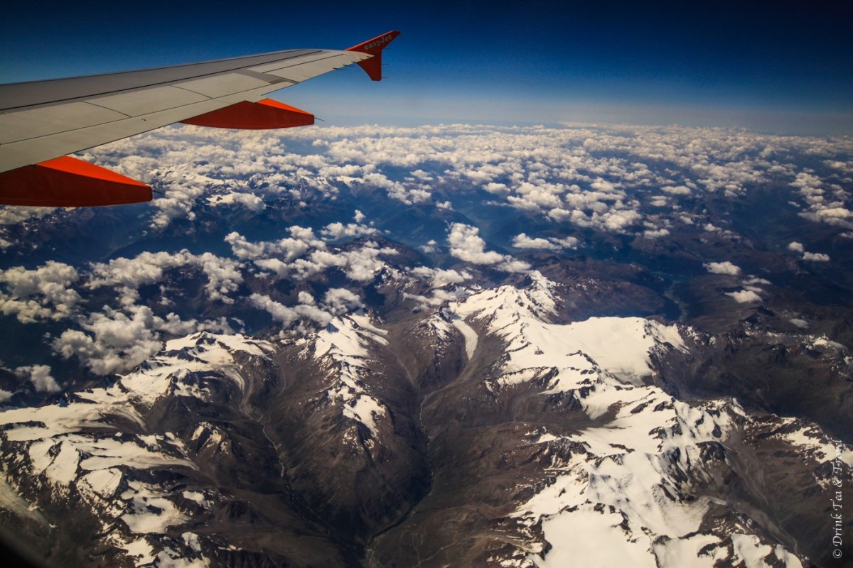 Flight over Swiss Alps. Europe.