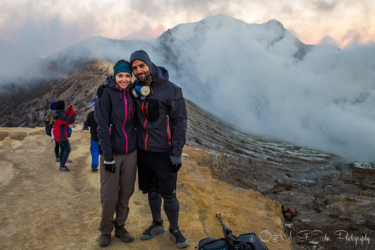 Max and Oksana at the top of Ijen Crater. Java. Indonesia