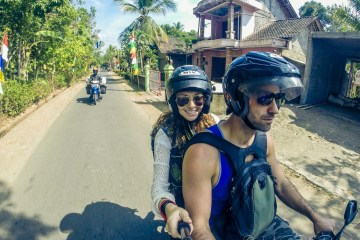 Riding a scooter in Yogyakarta, Indonesia