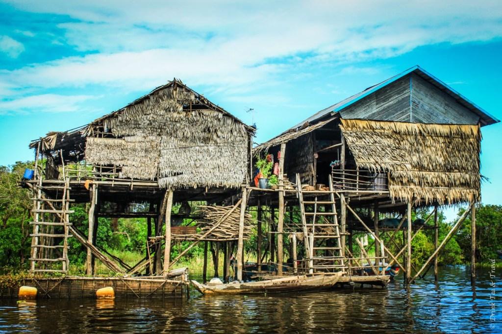 Houses on stilts in Kampong Phluk village