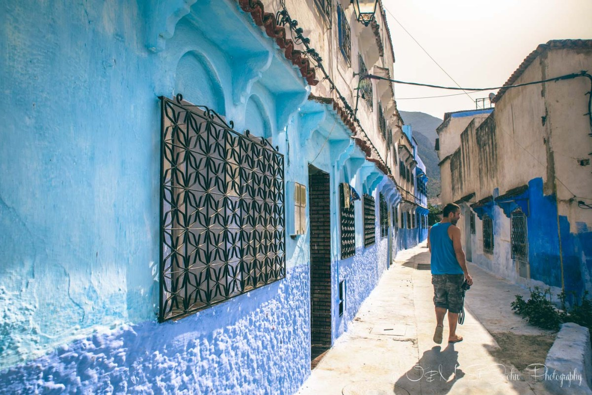 Max roaming around Chefchaouen. Morocco