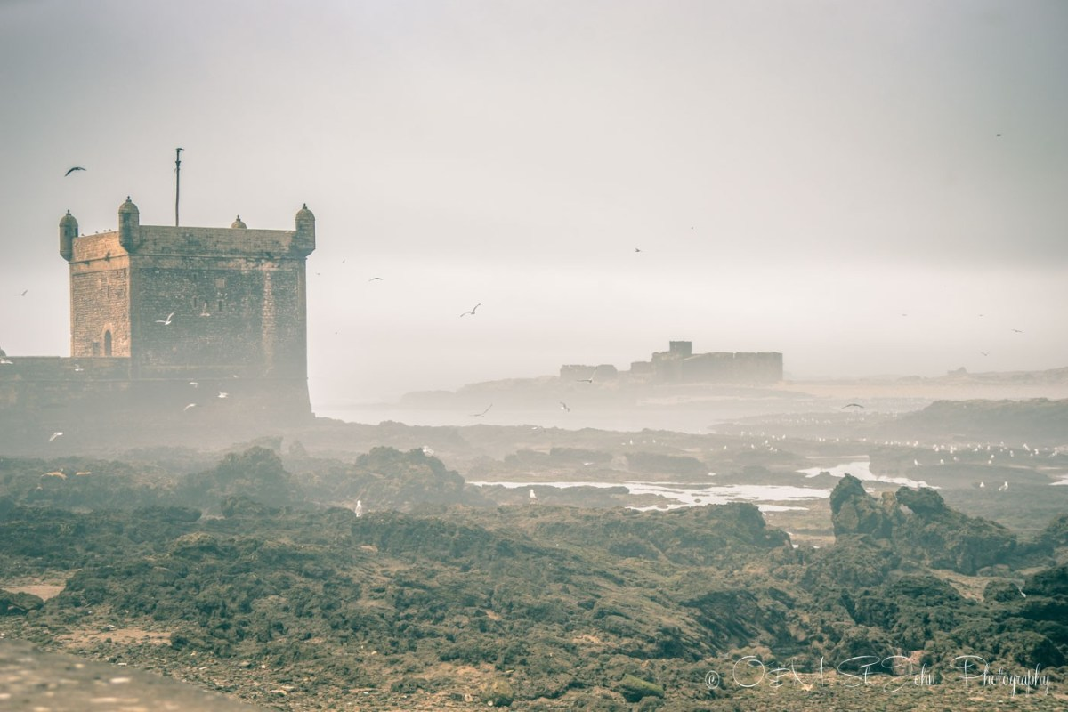 Morning fog sets in on the coast of Essaouira, Morocco