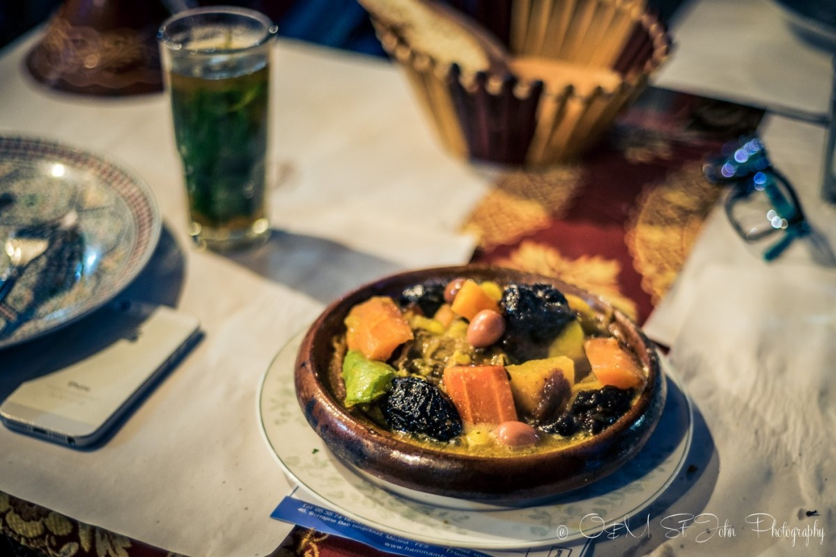 Prune and almond tagine in Fes, Morocco