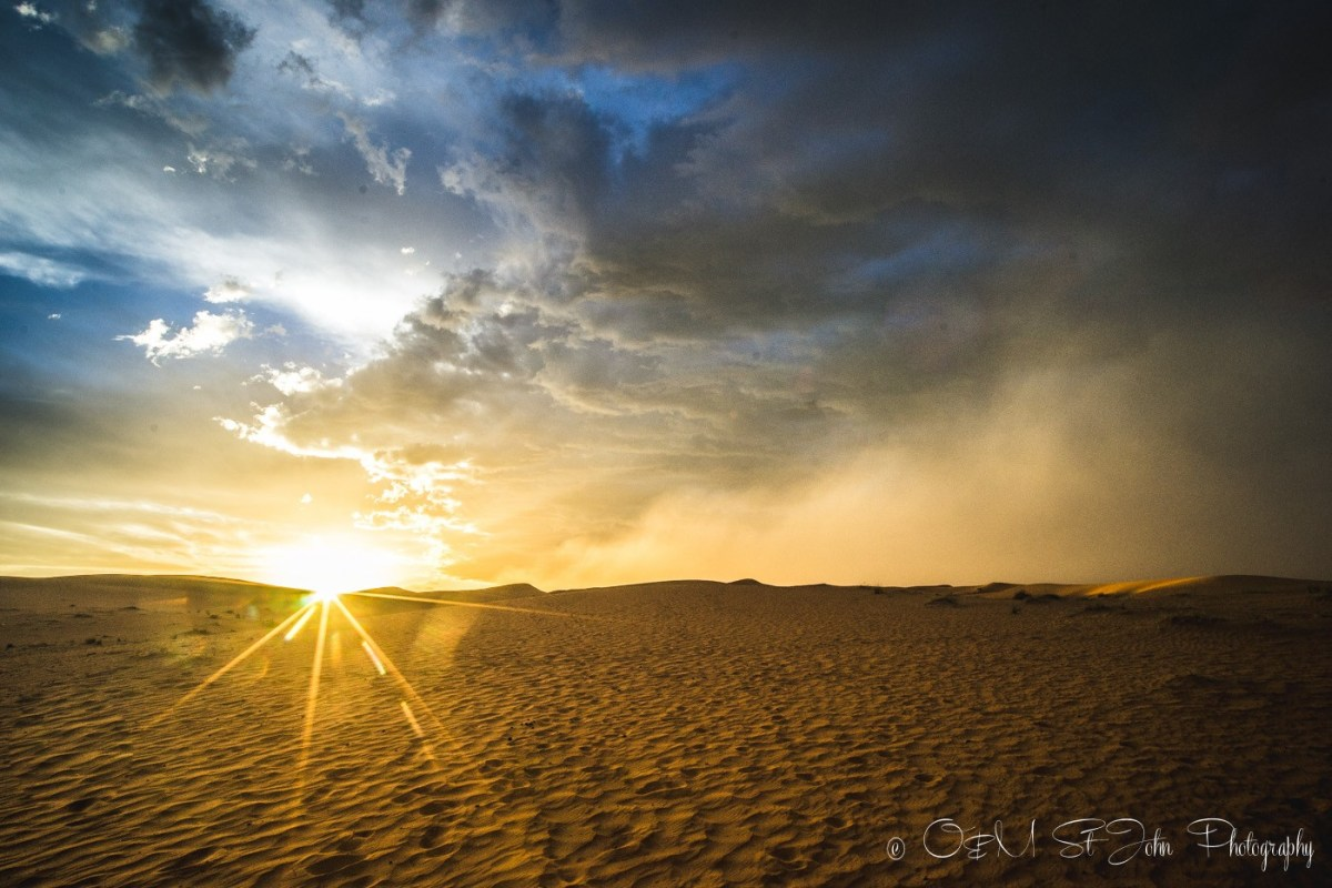 Sunset in Erg Chebbi. Sahara Desert. Morocco