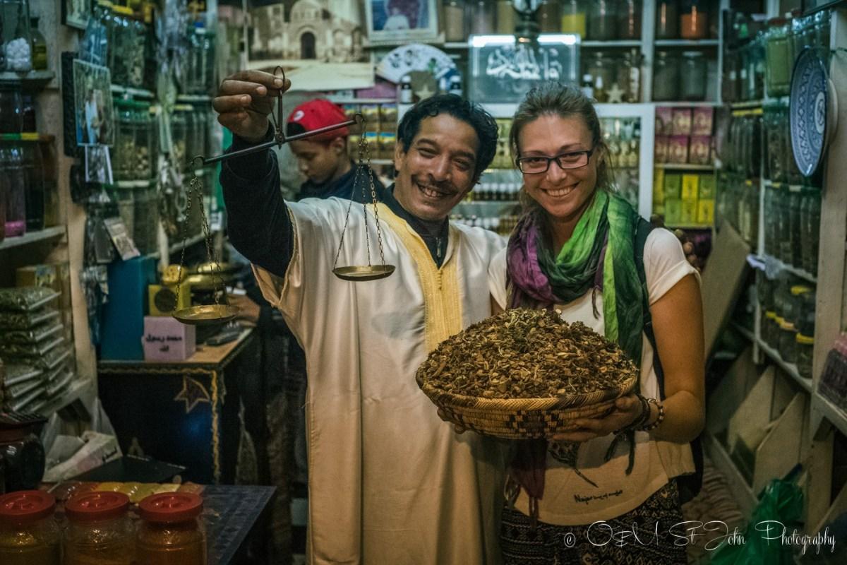 Oksana with tea producer in Marrakech. Morocco