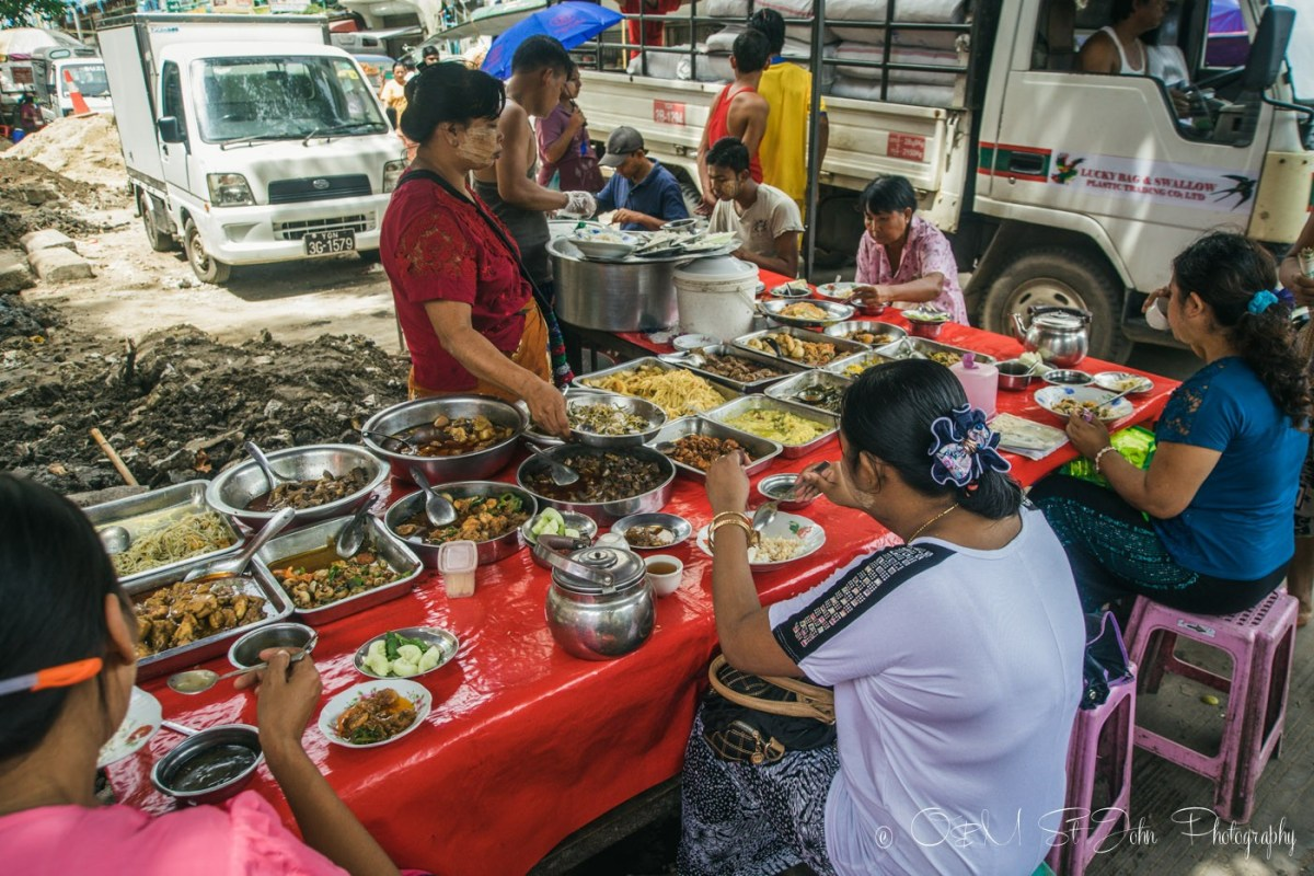 Street food stall in Yangon. Myanmar
