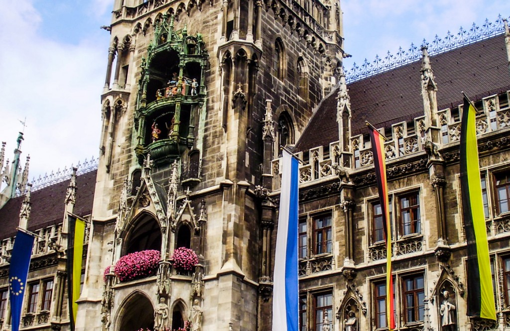 New Town Hall with 100 year old Glockenspiel with 32 life-sized figures reenact historical Bavarian events