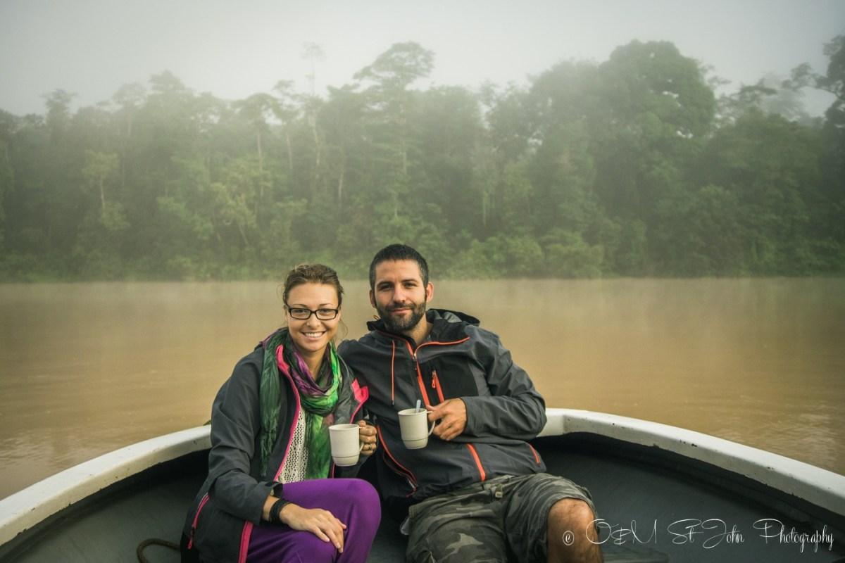 Max & Oksana on Kinabatangan River. Sabah. Malaysian Borneo