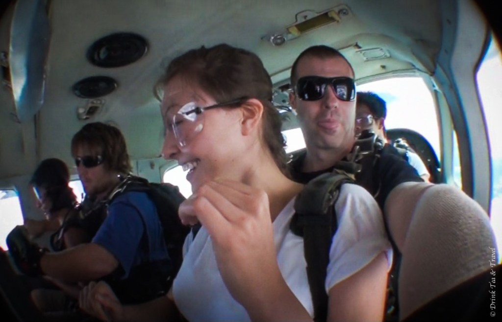 Inside the SkyDive Australia plane, on our way to 14,000ft