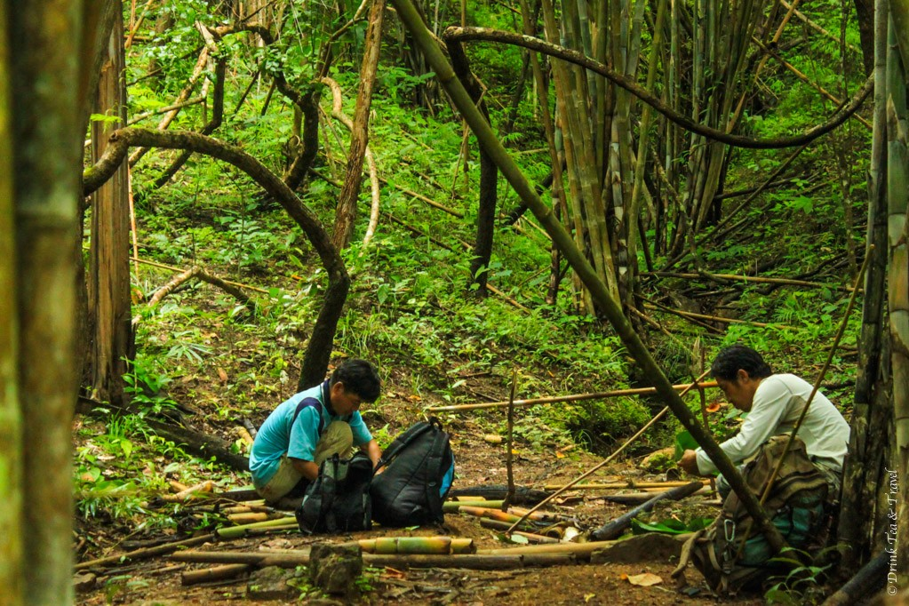 Taking a break on the way to the hilltribe village in Northern Thailand