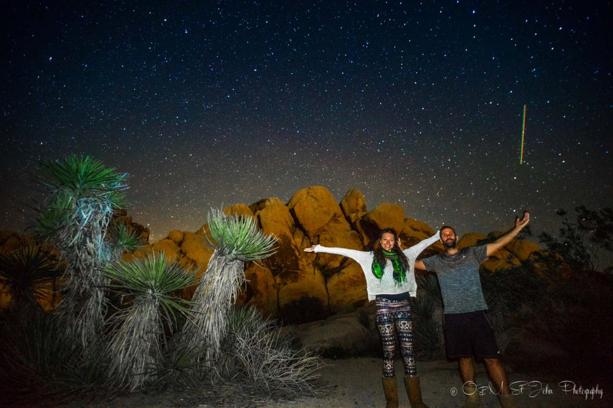 Under the stars in Joshua Tree National Park, California. USA Road Trip