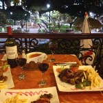 28May14 Day204 - Steak dinner overlooking Plaza 25 de Mayo, Sucre