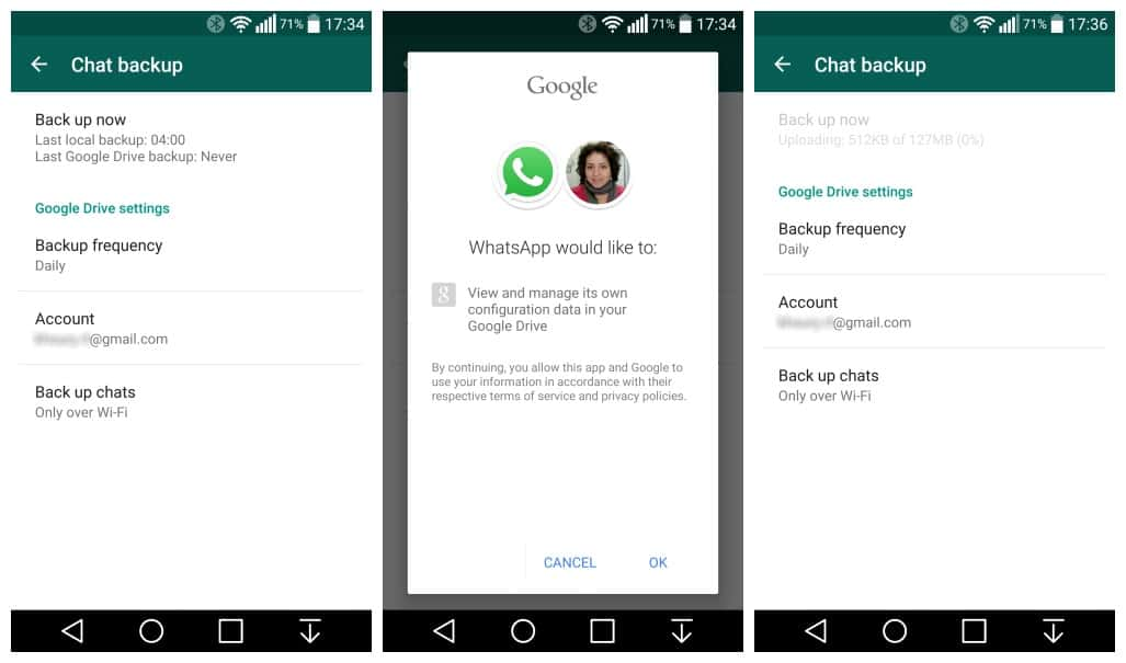 Whatsapp now offers backup of conversations to Google Drive