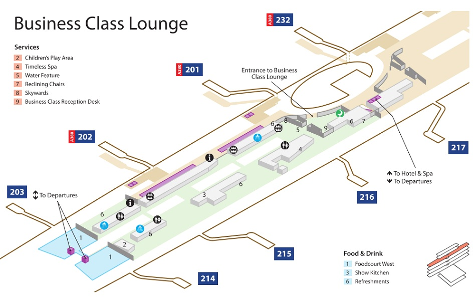Emirates Terminal 3 Business Class Lounge Map