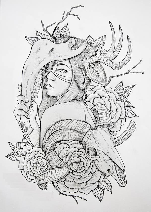 Line Drawing Animal Tattoos : Animal skin sketch tattoo