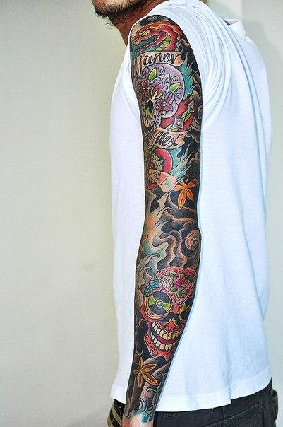 flower eyes japanese skulls tattoo sleeve best tattoo ideas. Black Bedroom Furniture Sets. Home Design Ideas