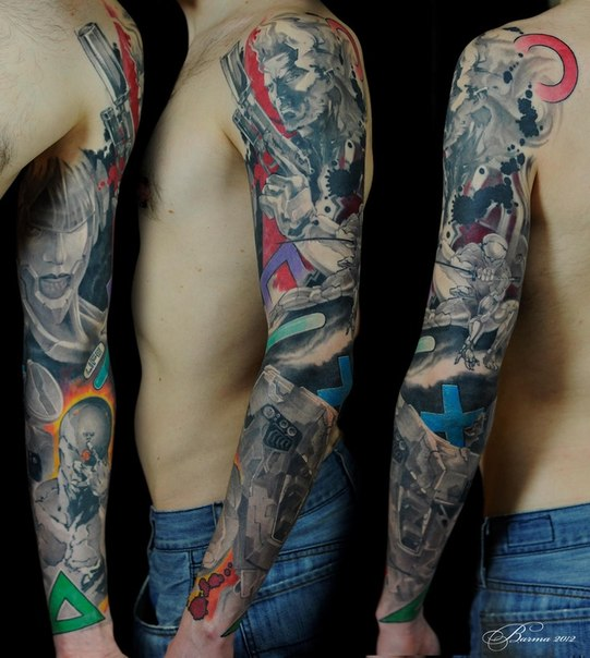 guns and anime tattoo sleeve best tattoo ideas. Black Bedroom Furniture Sets. Home Design Ideas