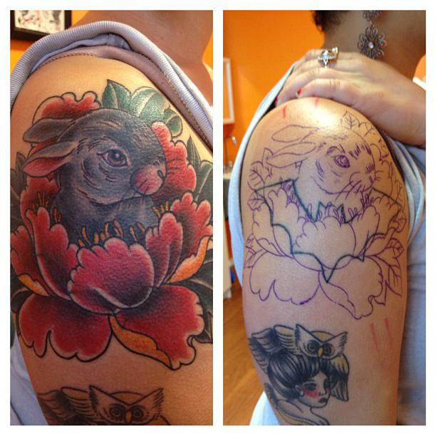 lotus rabbit cover up tattoo on shoulder best tattoo ideas. Black Bedroom Furniture Sets. Home Design Ideas