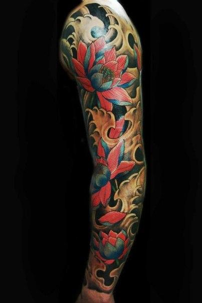 red lotus flower japanese tattoo sleeve best tattoo ideas. Black Bedroom Furniture Sets. Home Design Ideas
