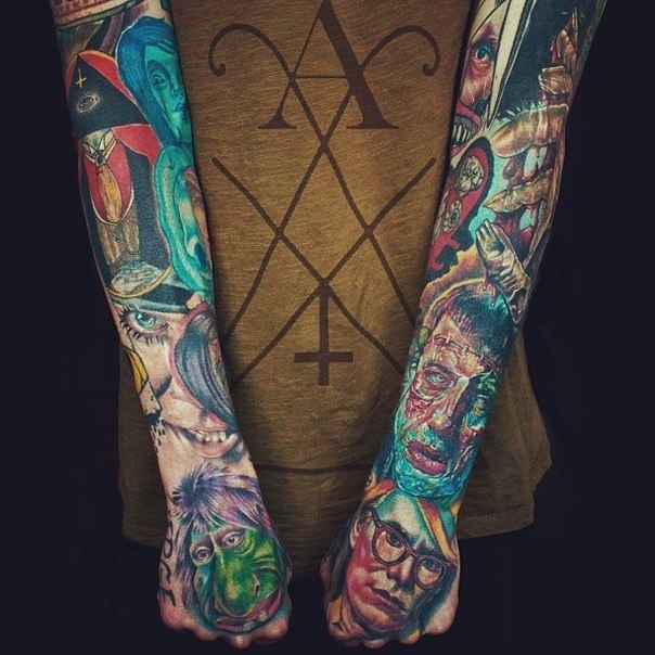 zombie faces and head pyramid tattoo sleeve best tattoo ideas. Black Bedroom Furniture Sets. Home Design Ideas