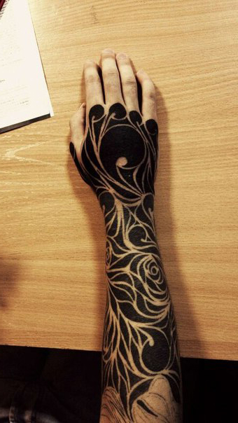 Wind and roses blackwork tattoo on arm best tattoo ideas for Blackout tattoo back