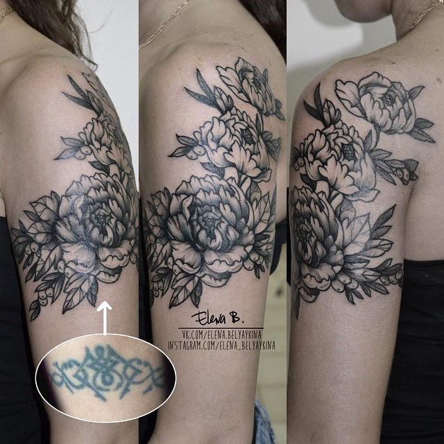 flowers on shoulder cover up tattoo best tattoo ideas. Black Bedroom Furniture Sets. Home Design Ideas