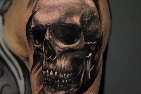 skull shoulder tattoo designs by dimitar krkaliev
