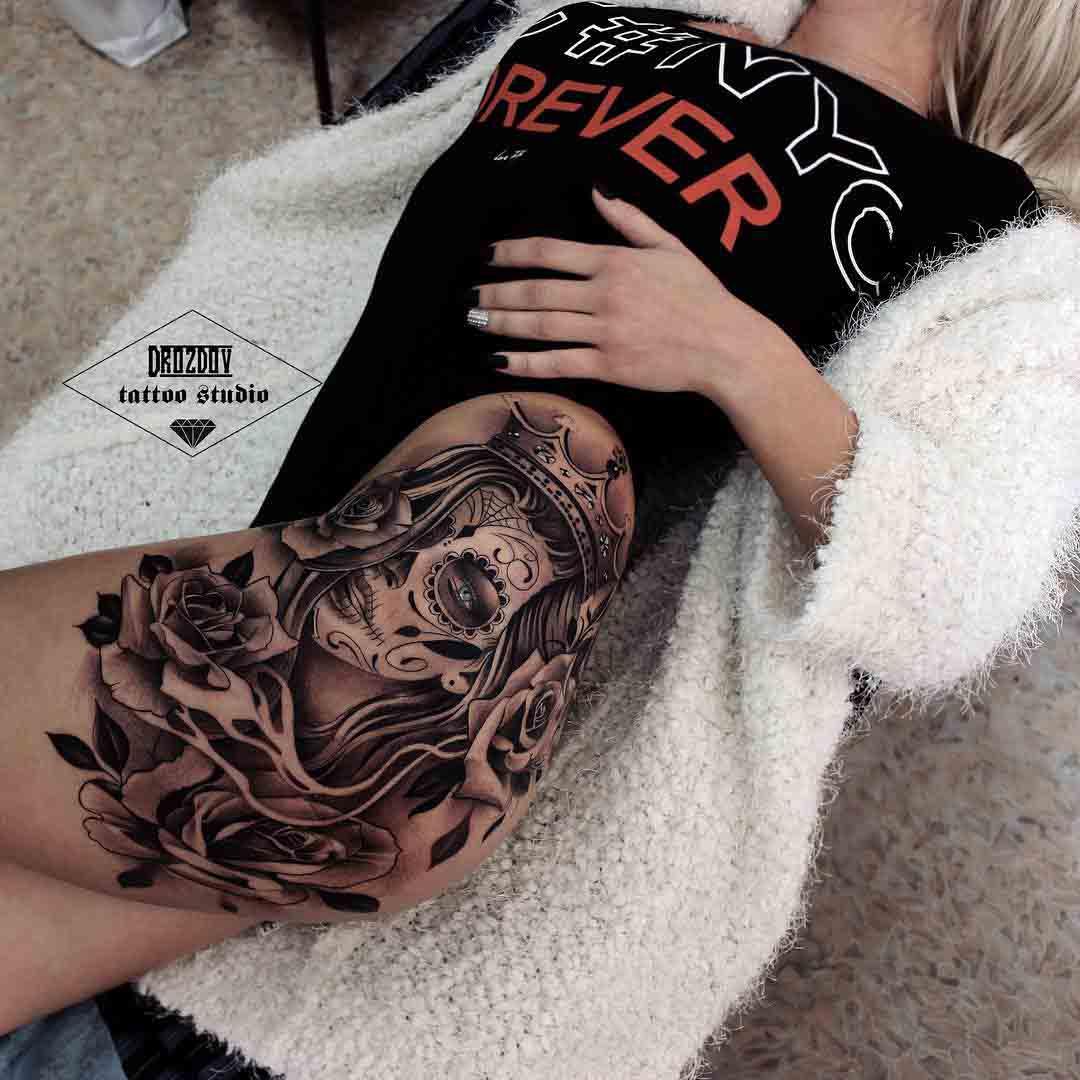 Santa Muerte Hip Tattoo Chicano - 2018 Tattoos Ideas