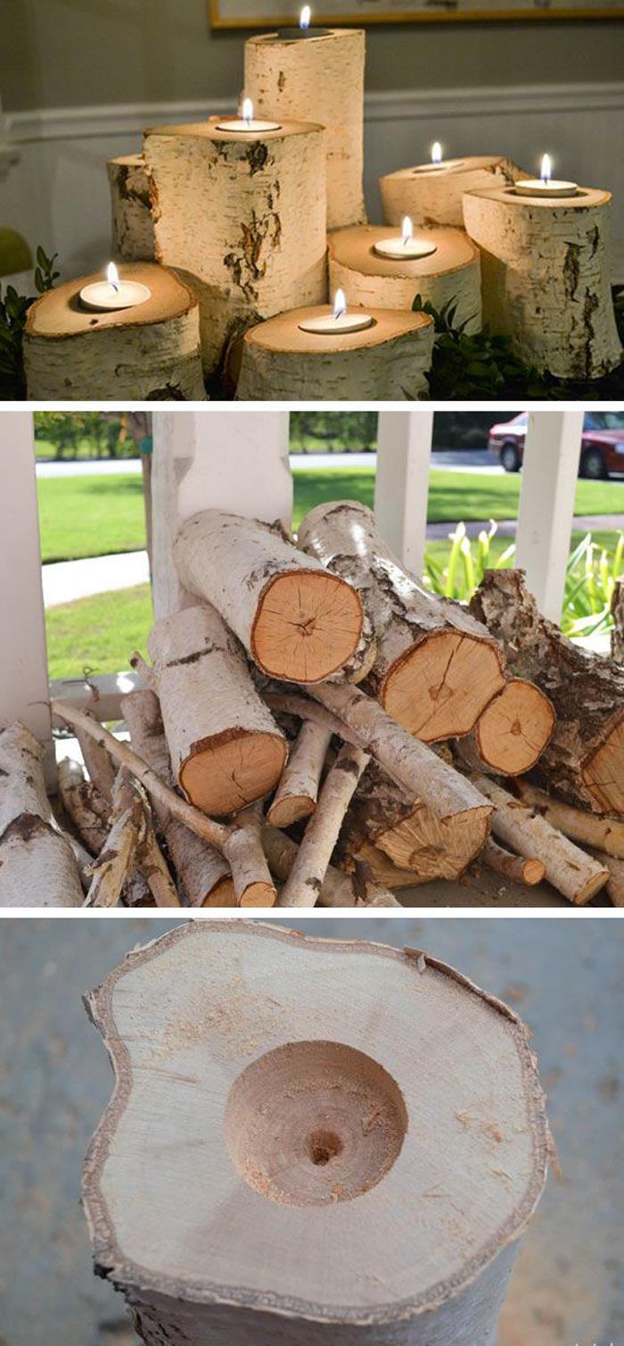 Tree Stump Candle Holders