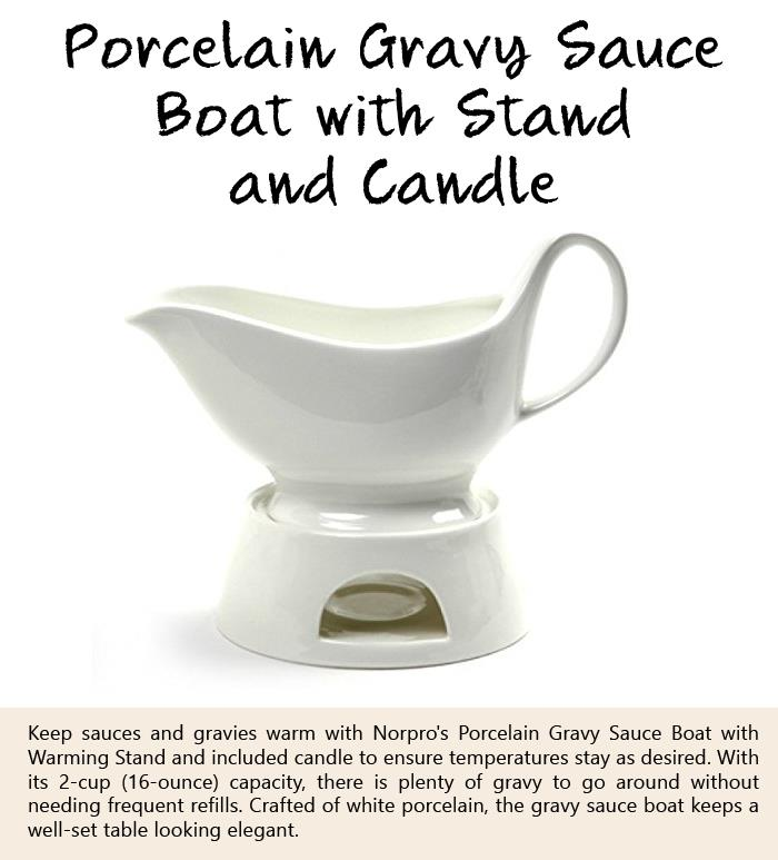Porcelain Gravy Sauce Boat with Stand and Candle