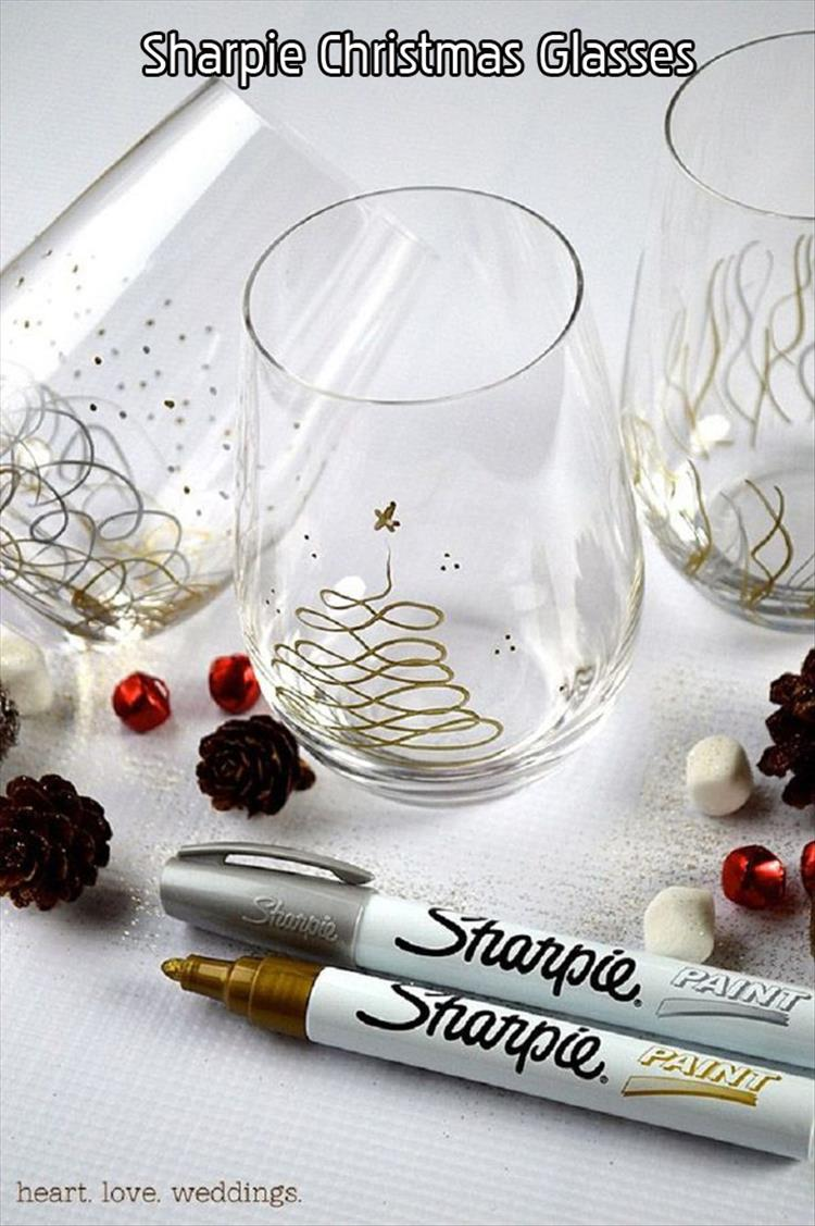 Sharpie Christmas Glasses