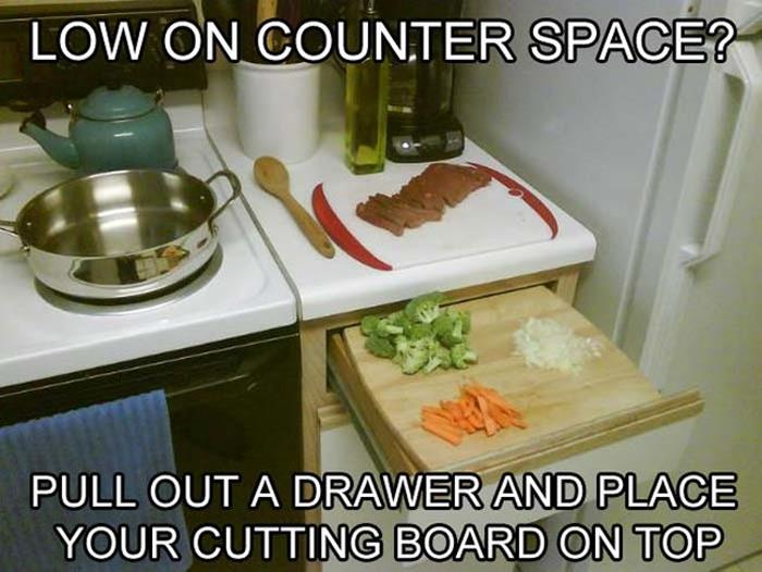 pull out a drawer for more counter space