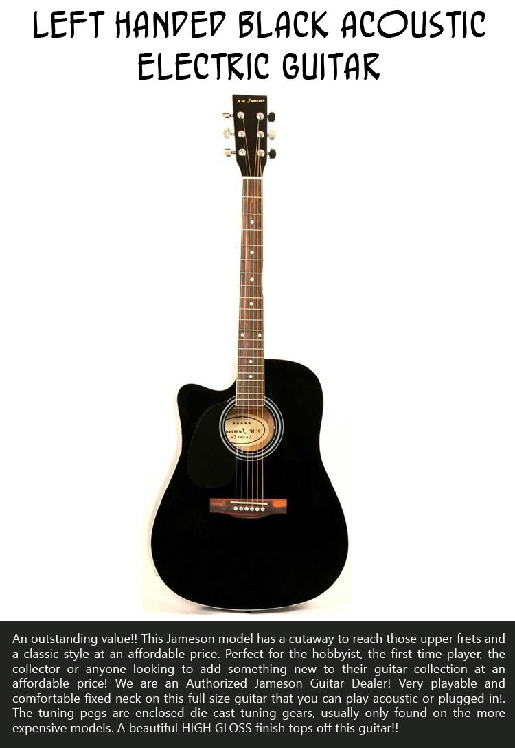 Left Handed Black Acoustic Electric Guitar